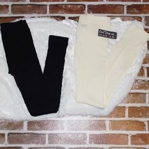 2 Pairs One Step Up Sweater Leggings Juniors L/XL
